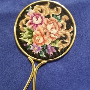 Vintage Embroidered Rose Compact Purse Mirror
